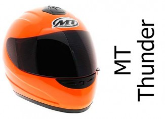MT Thunder fluorescent orange crash helmet