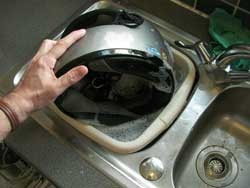cleaning crash helmets warm water