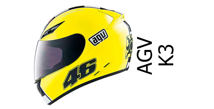 AGV k3 crash helmet side view