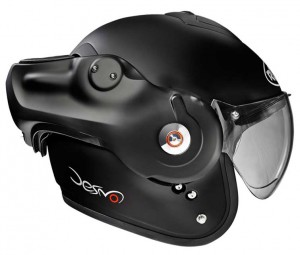 Roof Desmo matt black helmet photo side on
