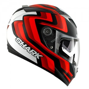 Shark-900C-crash-helmet-foret-matt-black-red-white-side-view