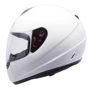 MT Thunder crash helmet in gloss white