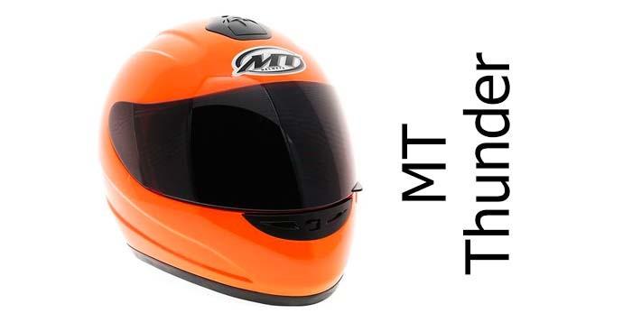 MT Thunder fluorescent orange crash helmet