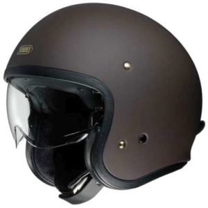 shoei JO matt brown open face helmet side view 2