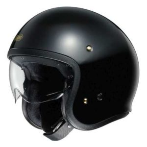 shoei jo solid gloss black helmet side view
