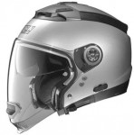 Nolan-N44-evo-silver-crash-helmet-side-view-no-chin-guard