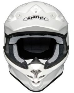 Shoei vfx-w motocross crash helmet front view solid white