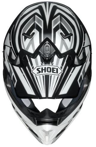 Shoei vfx-w motocross crash helmet top view block pass design