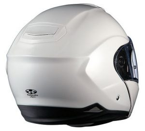 kabuto Ibuki pearl white modular crash helmet rear view