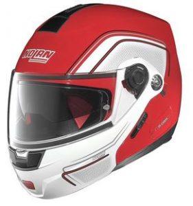 nolan n91 evo ammersee modular crash helmet red white side view