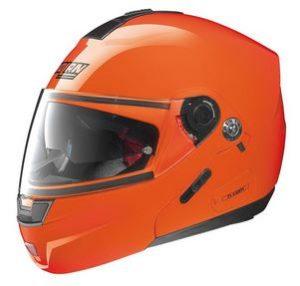 nolan n91 evo hi viz orange modular crash helmet side view