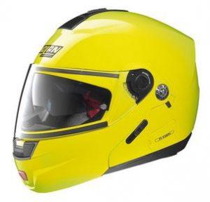 nolan n91 evo hi viz yellow modular crash helmet side view