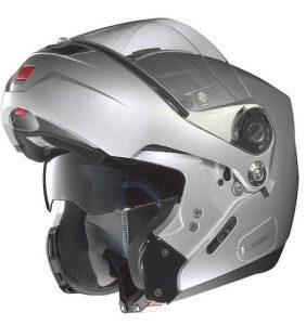 nolan n91 evo modular crash helmet silver flip up view
