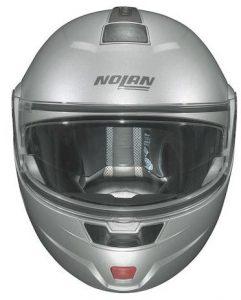 nolan n91 evo modular crash helmet silver front view