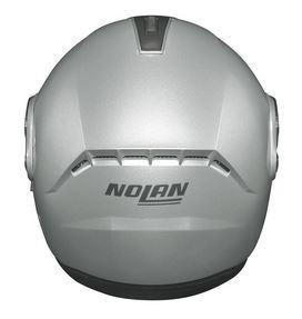 nolan n91 evo modular crash helmet silver rear view
