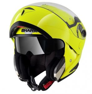 Shark openline hi viz yellow crash helmet sideview