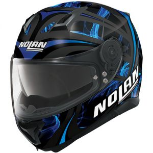 nolan-n87-ledlight-ncom-black-blue-crash-helmet-front-view