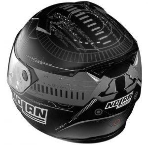 nolan-n64-wiring-flat-black-crash-helmet-rear-view