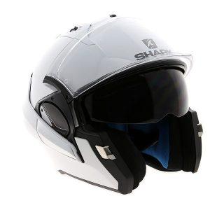 shark-evo-one-blank-white-motorbike-crash-helmet-side-front-view-chin-guard-up