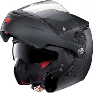 Nolan-N90-2-classic-matt-black--motorbike-crash-helmet-side-view-bar-up