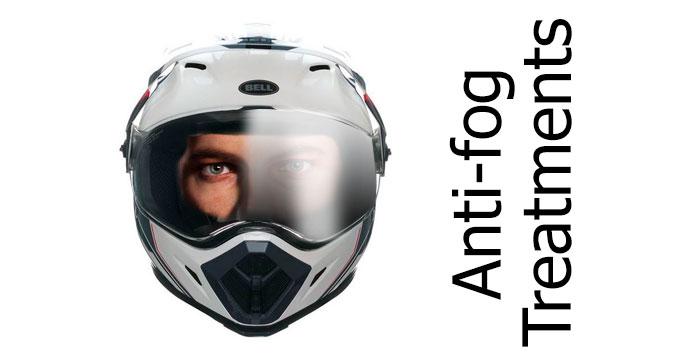Motorcycle helmet anti-fog visors and visor treatments