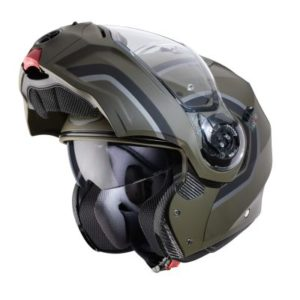 caberg droid pure matt green helmet chin bar up