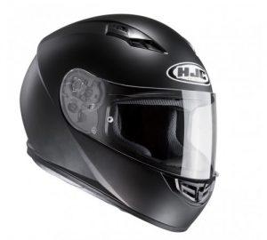 hjc cs-15 solid matt black motorbike crash helmet side view