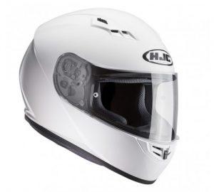 hjc cs-15 solid white motorbike crash helmet side view