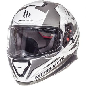 MT-Thunder-3-motorbike-crash-helmet-effect-white-silver-front-side-view