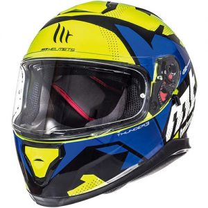 MT-Thunder-3-motorbike-crash-helmet-torn-fluo-yellow-blue-side-view