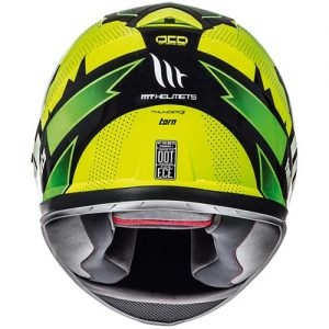 MT-Thunder-3-motorbike-crash-helmet-torn-fluo-yellow-green-rear-view
