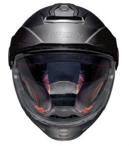 Nolan-n40-5-GT-N-com-solid-matt-black-motorcycle-helmet-front-view