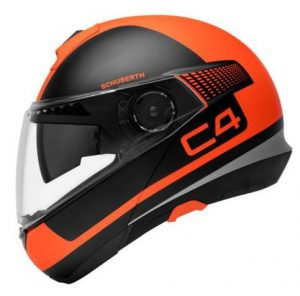 schuberth-C4-legacy-orange-black-flip-up-motorcycle-helmet-side-view