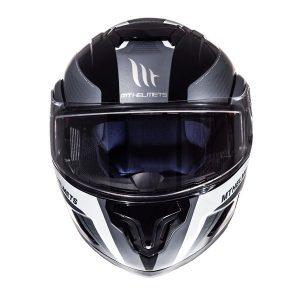 MT-Atom-Tarmac-Black-White-motorcycle-crash-helmet-Front-view