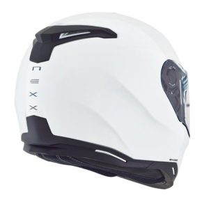 Nexx-sx100-plain-gloss-white-motorbike-crash-helmet-rear-view