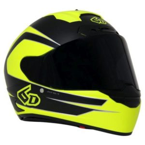 6D ATS 1 crash helmet in fluo yellow black front view