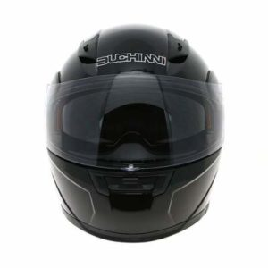duchinni d606 gloss black modular helmet front view