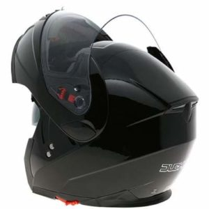 duchinni d606 gloss black modular helmet rear view