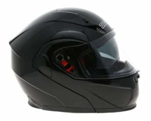 duchinni d606 gloss black modular helmet side view