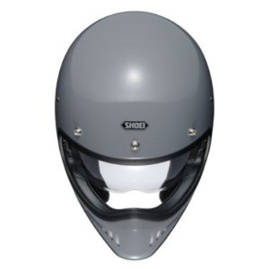 Shoei Ex-Zero gloss grey retro helmet top down view