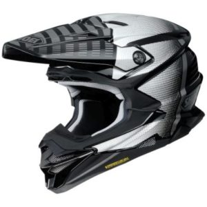 shoei vfx evo blazon motocross crash helmet side view