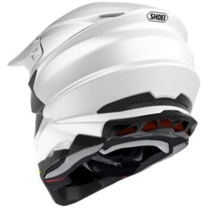shoei vfx evo solid white motocross helmet rear view