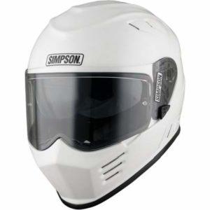 simpson venom gloss white motorcycle crash helmet front view