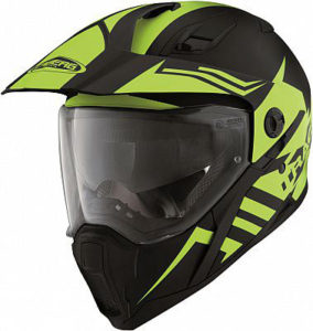 caberg-x-trace-Lux-black-yellow-motorbike-helmet-front-view