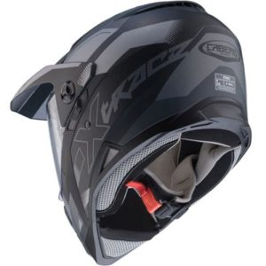 caberg x-trace dual sport helmet spark black grey rear view