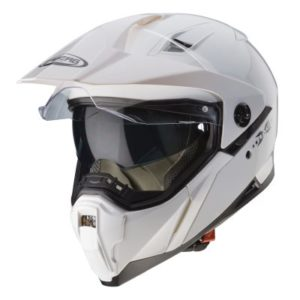 caberg x-trace gloss solid white helmet front view
