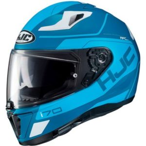hjc i70 Karon blue motorbike crash helmet top view