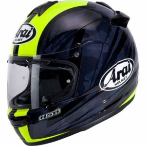 arai debut blast hi viz yellow crash helmet side view