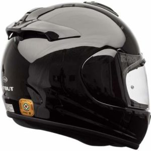 arai debut crash helmet in diamond black rear view