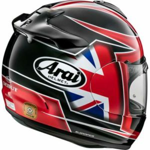 arai debut flag UK motorbike helmet rear view